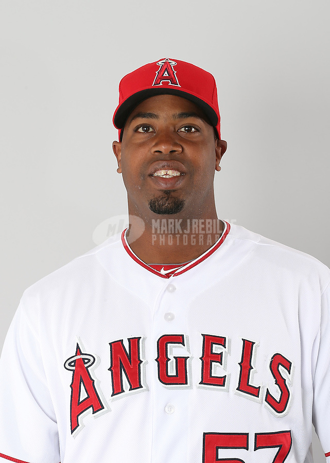 Feb. 21, 2113; Tempe, AZ, USA: Los Angeles Angels pitcher Jerome Williams poses for a portrait during photo day at Tempe Diablo Stadium. Mandatory Credit: Mark J. Rebilas-