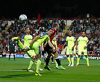 Craig Forsyth of Derby County sees the cross miss everyone during the Sky Bet Championship match between Brentford and Derby County at Griffin Park, London, England on 26 September 2017. Photo by Carlton Myrie / PRiME Media Images.