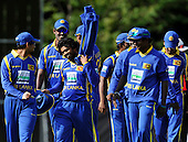 Cricket - ODI Summer Tri-Series - Scotland V Sri Lanka at Grange CC - Edinburgh - all smiles at the end of the match - Sri Lanka opening bowler Lasith Malinga (centre left) who took 5 for 30 in the game - Picture by Donald MacLeod - 13.07.11 - 07702 319 738 - www.donald-macleod.com