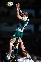 Tom Croft of Leicester Tigers wins the ball at a lineout. Aviva Premiership match, between Leicester Tigers and Gloucester Rugby on April 2, 2016 at Welford Road in Leicester, England. Photo by: Patrick Khachfe / JMP
