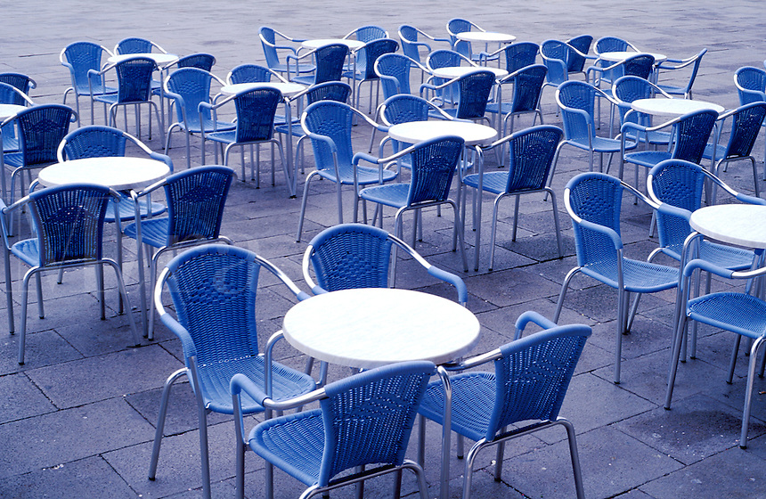 Italy, Venice, Piazza San Marco. Cafe chairs and tables.