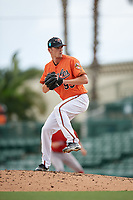 Baltimore Orioles pitcher Timothy Naughton (93) delivers a pitch during a Florida Instructional League game against the Boston Red Sox on October 8, 2018 at the Ed Smith Stadium in Sarasota, Florida.  (Mike Janes/Four Seam Images)