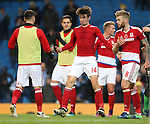 Marten de Roon of Middlesbrough re-enacts his goal celebration with David Nugent of Middlesbrough during the Premier League match at the Etihad Stadium, Manchester. Picture date: November 5th, 2016. Pic Simon Bellis/Sportimage