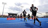Blacksticks run onto the field during the Pro League Hockey match between the Blacksticks men and the Spain, Nga Punawai, Christchurch, New Zealand, Sunday 16 February 2020. Photo: Simon Watts/www.bwmedia.co.nz