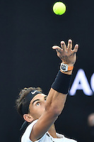 January 27, 2017: Rafael Nadal of Spain in action in a semifinals match against Grigor Dimitrov of Bulgaria on day 12 of the 2017 Australian Open Grand Slam tennis tournament in Melbourne, Australia. Photo Sydney Low