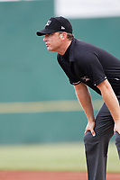 Umpire Ben Phillips during a game between the Myrtle Beach Pelicans and the Winston Salem Dash at Ticketreturn.com Field at Pelicans Ballpark on July 22, 2018 in Myrtle Beach, South Carolina. Winston-Salem defeated Myrtle Beach 7-2. (Robert Gurganus/Four Seam Images)