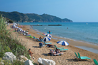 Greece, Corfu, Arillas: View along beach on North West coast of island