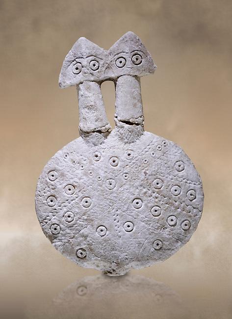 Bronze Age Anatolian two headed disk shaped alabaster Goddess figurine - 19th to 17th century BC - Kültepe Kanesh - Museum of Anatolian Civilisations, Ankara, Turkey.  Against a warn art background.