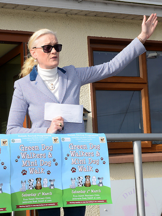 Sharon Keogan speaking at the Green Dog Walk as part of the Duleek Revival programme. Photo:Colin Bell/pressphotos.ie