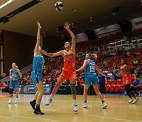 29th November 2019; Bendat Basketball Centre, Perth, Western Australia, Australia; Womens National Basketball League Australia, Perth Lynx versus Southside Flyers; Katie Ebzery of the Perth Lynx lays up at the basket against Lowell Tomlinson of the Southside Flyers - Editorial Use