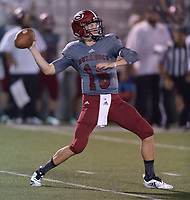 NWA Democrat-Gazette/ANDY SHUPE<br /> Springdale quarterback Grant Allen passes against Alma Friday, Sept. 7, 2018, during the first half at Jarrell Williams Bulldog Stadium in Springdale. Visit nwadg.com/photos to see photographs from the game.