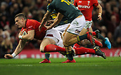 2nd December 2017, Principality Stadium, Cardiff, Wales; Autumn International Rugby Series, Wales versus South Africa; Scott Williams of Wales dives in to score the first try of the game