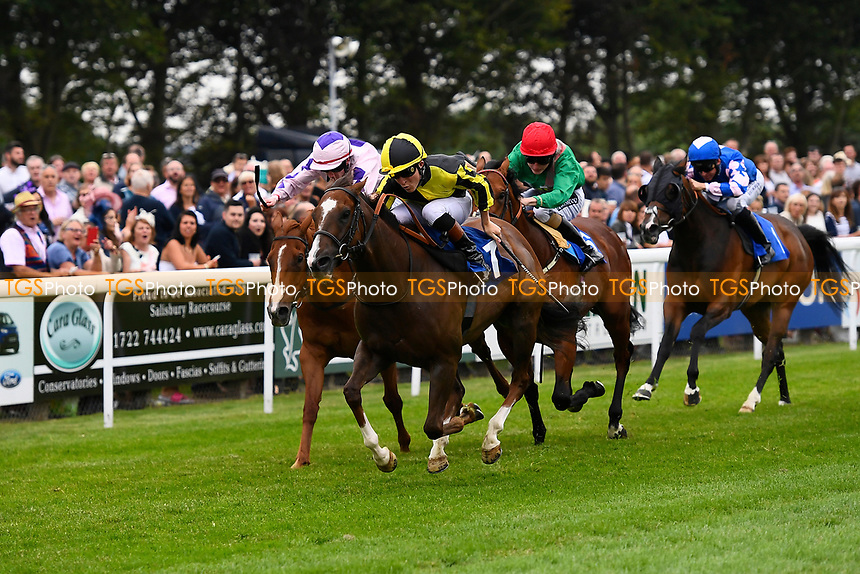 Winner of The Tony Brown's 75th Birthday Handicap, Dandy Flame (yellow) ridden by Finley Marsh and trained by Richard Hughes  during Ladies Evening Racing at Salisbury Racecourse on 15th July 2017