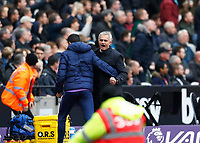 23rd November 2019; London Stadium, London, England; English Premier League Football, West Ham United versus Tottenham Hotspur; Tottenham Hotspur Manager Jose Mourinho celebrates from the touchline with a member of his coaching staff after Son Heung-Min of Tottenham Hotspur scored his sides 1st goal in the 35th minute to make it 0-1 - Strictly Editorial Use Only. No use with unauthorized audio, video, data, fixture lists, club/league logos or 'live' services. Online in-match use limited to 120 images, no video emulation. No use in betting, games or single club/league/player publications