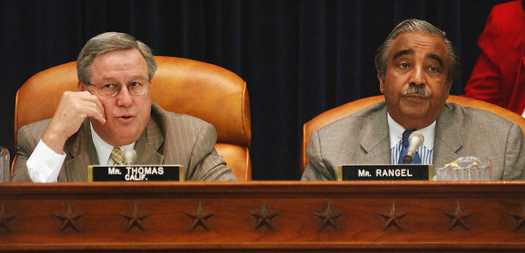 "4/3/03.ENERGY TAX POLICY ACT--Chairman Bill Thomas, R-Calif., and ranking Democrat Charles B. Rangel, N.Y., during the House Ways & Means markup of HR 1531, the ""Energy Tax Policy Act of 2003."" .CONGRESSIONAL QUARTERLY PHOTO BY SCOTT J. FERRELL"