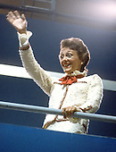 Joan Mondale, wife of United States Vice President Walter Mondale, waves to the crowd at the 1980 Democratic National Convention in New York, New York in August, 1980.  Mrs. Mondale passed away on February 3, 2014.<br /> Credit: Arnie Sachs / CNP
