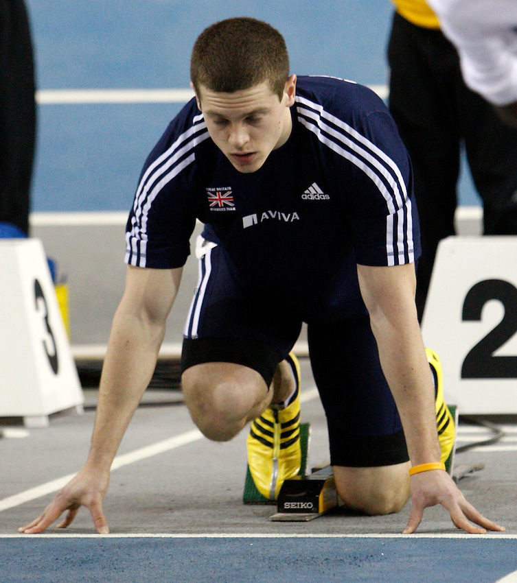 Photo: Richard Lane/Richard Lane Photography. Aviva Glasgow International Match at the Kelvin Hall. 31/01/2009. Great Britain's Craig Pickering prepares for the men's 60m.