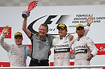 Podium - Valtteri Bottas (FIN), Williams F1 Team - Nico Rosberg (GER), Mercedes GP - Lewis Hamilton (GBR), Mercedes GP<br /> for the complete Middle East, Austria &amp; Germany Media usage only!<br />  Foto &copy; nph / Mathis