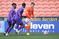 Blackpool's Calum MacDonald under pressure from Maidstone United's Gavin Hoyte and Maidstone United's Nana Kyei<br /> <br /> Photographer Kevin Barnes/CameraSport<br /> <br /> Emirates FA Cup Second Round - Blackpool v Maidstone United - Sunday 1st December 2019 - Bloomfield Road - Blackpool<br />  <br /> World Copyright © 2019 CameraSport. All rights reserved. 43 Linden Ave. Countesthorpe. Leicester. England. LE8 5PG - Tel: +44 (0) 116 277 4147 - admin@camerasport.com - www.camerasport.com