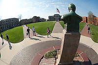 Drill Field paths converge at Stephen Lee statue (photo by Megan Bean / © Mississippi State University)