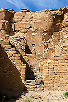 Rock walls and cliff face at the Kin Kletso site within Chaco Culture National Historic Park