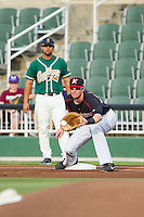 Kannapolis Intimidators first baseman Danny Hayes (32) stretches for a throw during the game against the Greensboro Grasshoppers at CMC-Northeast Stadium on June 12, 2014 in Kannapolis, North Carolina.  The Grasshoppers defeated the Intimidators 5-2.  (Brian Westerholt/Four Seam Images)