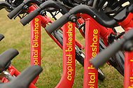 November 4, 2011  (Bladensburg, MD)  Capitol Bikeshare bicycles at the Anacostia River Watershed in Bladensburg, MD.  The Watershed was selected under the Urban Waters Federal Partnership to stimulate local economies, create local jobs, and improve quality of life under.  Nearly 60 miles of trails are expected to connect the District of Columbia and Maryland.    (Photo by Don Baxter/Media Images International)