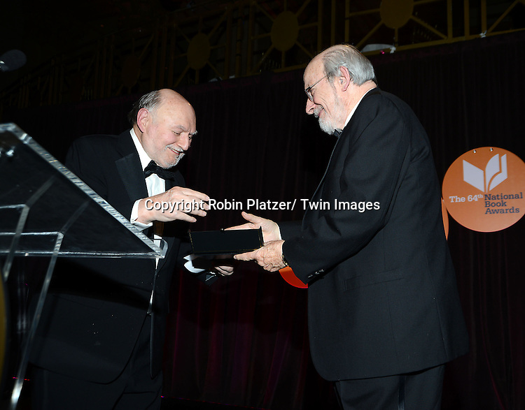 Victor Navasky and E.L. Doctorow  accepts his Lifetime Achievement Award the 2013 National Book Awards Dinner and Ceremony on November 20, 2013 at Cipriani Wall Street in New York City.