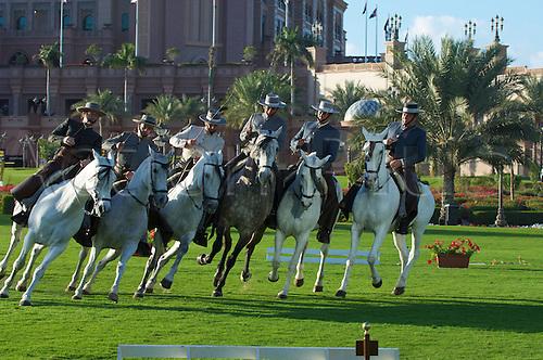 14.02.2011 Andalusian horses demonstration at the Emirates palace Abu Dhabi UAE.