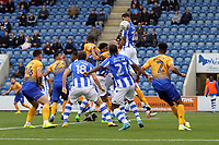 Ryan Inniss of Colchester United gets above everyone else to get his head on the aerial ball during Colchester United vs Mansfield Town, Sky Bet EFL League 2 Football at the Weston Homes Community Stadium on 7th October 2017