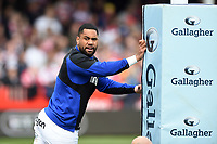 Joe Cokanasiga of Bath Rugby looks on during the pre-match warm-up. Gallagher Premiership match, between Gloucester Rugby and Bath Rugby on April 13, 2019 at Kingsholm Stadium in Gloucester, England. Photo by: Patrick Khachfe / Onside Images