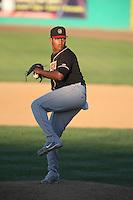 Raul Fernandez #16 of the Modesto Nuts pitches against the High Desert Mavericks at Heritage Field on June 29, 2014 in Adelanto, California. High Desert defeated Modesto, 6-1. (Larry Goren/Four Seam Images)