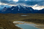 Mountain range and pre-andean shrubland, Torres del Paine National Park, Patagonia, Chile