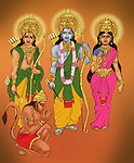 Lord Rama and Goddess Sita with Lakshmana and Lord Hanuman