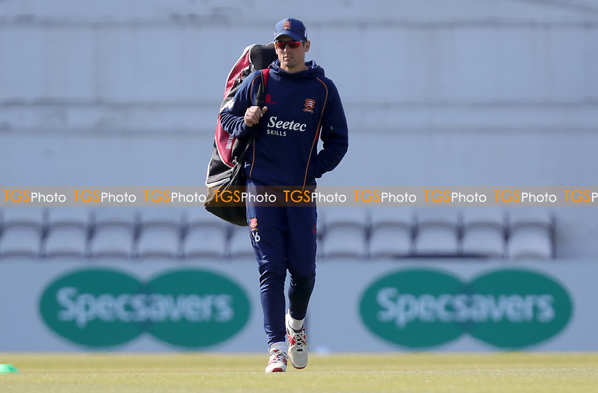 Sir Alastair Cook of Essex walks out ready to warm-up prior to Surrey CCC vs Essex CCC, Specsavers County Championship Division 1 Cricket at the Kia Oval on 14th April 2019