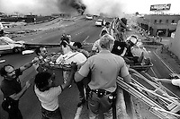 Oakland, Ca,  Oct 17, 1989 The Cypress freeway is collapsed during the Loma Prieta earthquake.<br />