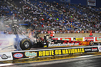 Jun. 29, 2012; Joliet, IL, USA: NHRA top fuel dragster driver Luigi Novelli during qualifying for the Route 66 Nationals at Route 66 Raceway. Mandatory Credit: Mark J. Rebilas-