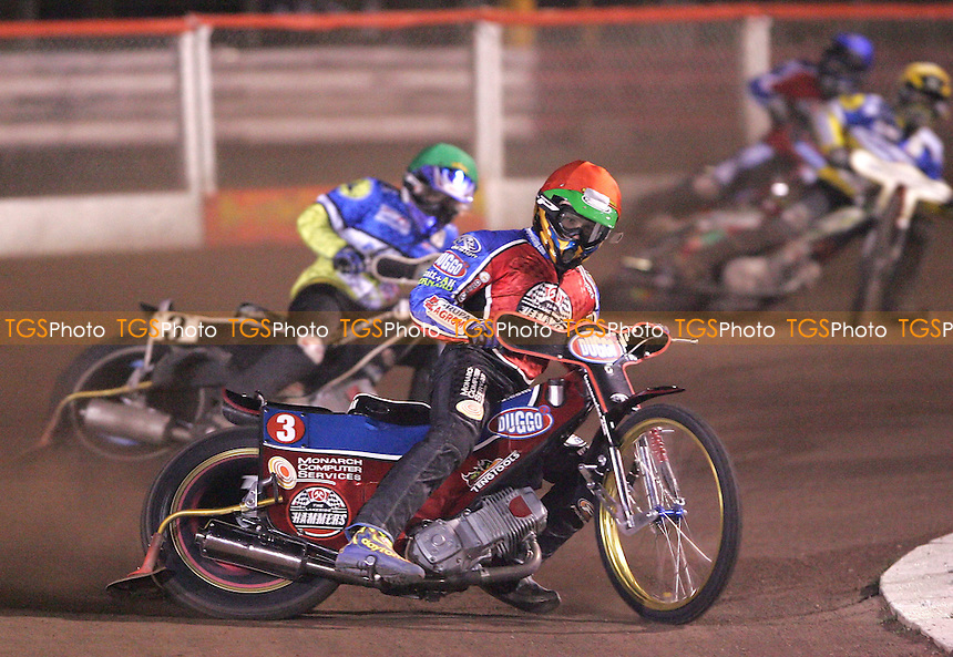 Heat 3 - Krzysztof Kasprzak (Red) of Lakeside leads Chris Louis (Green) of Ipswich, Marcin Rempala (Yellow) of Ipswich and Leigh Lanham (Blue) of Lakeside - Lakeside Hammers vs Ipswich Witches at The Arena Essex Raceway, Thurrock - 06/04/07 - MANDATORY CREDIT: Rob Newell/TGSPHOTO