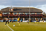 Fans watch from the clubhouse. Darlington 1883 v Southport, National League North, 16th February 2019. The reborn Darlington 1883 share a ground with the town's Rugby Union club. <br />
