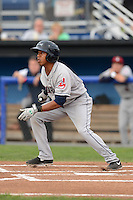 Mahoning Valley Scrappers outfielder Joel Mejia (6) during a game against the Batavia Muckdogs on August 31, 2013 at Dwyer Stadium in Batavia, New York.  Batavia defeated Mahoning Valley 11-0  (Mike Janes/Four Seam Images)