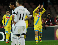 Lorenzo Insigne celebrates after scoring<br /> <br />  UEFA Europa League round of 32 second  leg match, betweenAC  Napoli  and Swansea City   at San Paolo stadium in Naples, Feburary 27 , 2014