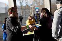 Seattle, WA - Saturday March 24, 2018: Fans, program during a regular season National Women's Soccer League (NWSL) match between the Seattle Reign FC and the Washington Spirit at the UW Medicine Pitch at Memorial Stadium.