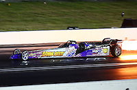 Aug. 31, 2013; Clermont, IN, USA: NHRA jet dragster during qualifying for the US Nationals at Lucas Oil Raceway. Mandatory Credit: Mark J. Rebilas-