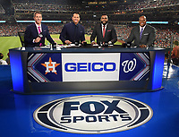 WASHINGTON DC - OCTOBER 26: Kevin Burkhardt, Alex Rodriguez, David Ortiz, and Frank Thomas at World Series Game 4: Houston Astros at Washington Nationals on Fox Sports at Nationals Park on October 26, 2019 in Washington, DC. (Photo by Frank Micelotta/Fox Sports/PictureGroup)