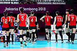 Japan team group (JPN), <br /> SEPTEMBER 1, 2018 - Volleyball : <br /> Women's Bronze Medal match<br /> between Japan 1-2 Korea <br /> at Gelora Bung Karno Indoor Tennis Stadium <br /> during the 2018 Jakarta Palembang Asian Games <br /> in Jakarta, Indonesia. <br /> (Photo by Naoki Nishimura/AFLO SPORT)