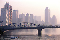 New highrise buildings lining the Pearl River in central Guangzhou City, Guangdong Province, China..