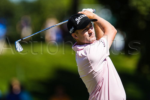 28.08.2015. Edison, NJ, USA.  Matt Jones hits his tee shot from the 4th during the second round of The Barclays at Plainfield Country Club in Edison, NJ.