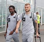 08.08.18 FK Maribor arrive at Glasgow airport: Kassim Doumbia and Alexandru Cretu