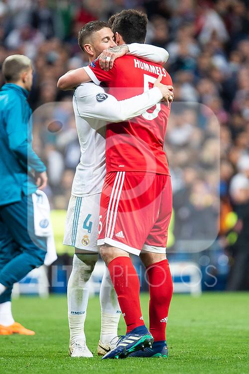 Real Madrid Sergio Ramos and Bayern Munich Mats Hummels during Semi Finals UEFA Champions League match between Real Madrid and Bayern Munich at Santiago Bernabeu Stadium in Madrid, Spain. May 01, 2018. (ALTERPHOTOS/Borja B.Hojas)