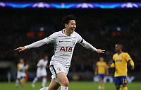 Tottenham Hotspur's Son Heung-Min celebrates scoring his side's first goal <br /> <br /> Photographer Rob Newell/CameraSport<br /> <br /> UEFA Champions League Round of 16 Second Leg - Tottenham Hotspur v Juventus - Wednesday 7th March 2018 - Wembley Stadium - London <br />  <br /> World Copyright &copy; 2017 CameraSport. All rights reserved. 43 Linden Ave. Countesthorpe. Leicester. England. LE8 5PG - Tel: +44 (0) 116 277 4147 - admin@camerasport.com - www.camerasport.com